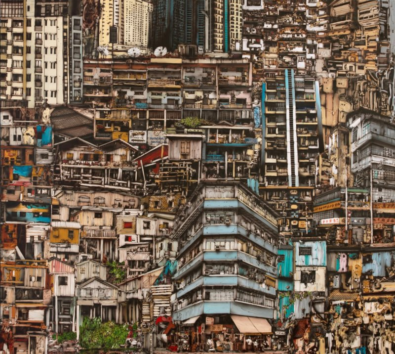 Slum, airbrush a akryl na plátně, airbrush and acrylic on canvas, 180 x 200 cm, 2018