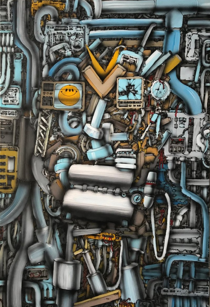Airbrushový král, Airbrush King, airbrush a akryl na plátně, airbrush and acrylic on canvas, 110 x 73 cm, 2018